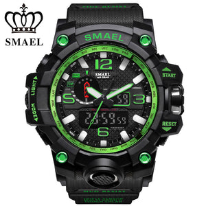 SMAEL Top Brand Hot Sale Men Sport Watches Dual Display LED Digital Analog Chronograph Wrist Watch Swim Waterproof Man Clock