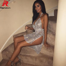 Load image into Gallery viewer, Sexy Metal Crystal Diamonds Chain Women Luxury Party Dresses Gold Silver Summer Halter Sequins Night Club Dress Vesitos 2018 New