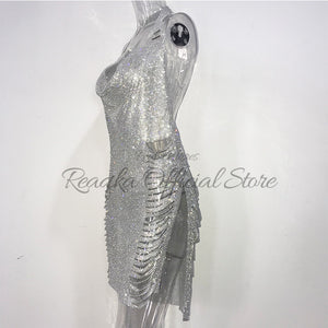 Sexy Metal Crystal Diamonds Chain Women Luxury Party Dresses Gold Silver Summer Halter Sequins Night Club Dress Vesitos 2018 New