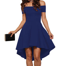 Load image into Gallery viewer, Sexy Off the Shoulder Asymmetrical Hem Summer Dress 2018 Women Elegant Solid Slash Neck Dress Tuxedo Plus Size