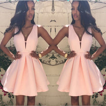 Load image into Gallery viewer, Sexy Party Dress 2018 Summer  Women Deep V-Neck Backless Sleeveless Pink Dresses A-line Mini Dresses