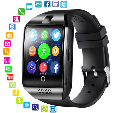 Smart Watch Men Women Sports Bracelet Q18 Bluetooth Touch Screen Big Battery SmartWatch Support TF SIM Card Camera IOS Android