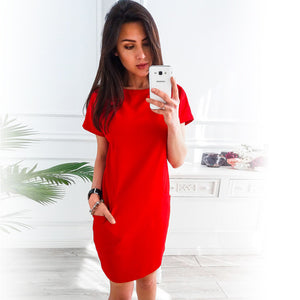 Summer Dress 2018 Women Loose Straight Fashion Pockets Elegant Mini Dress Casual O-neck Short Sleeve Solid Party Dresses