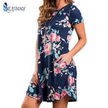 Load image into Gallery viewer, Summer O Neck Women Mini Dress Floral Print Short Sleeve Dresses Party Vestido