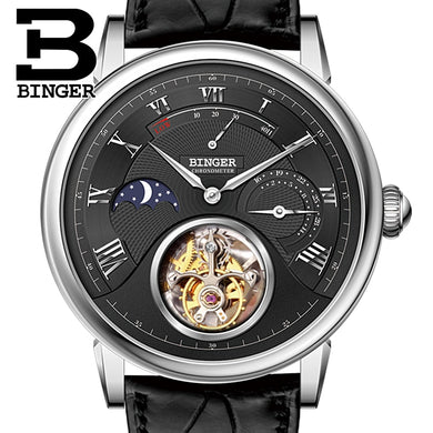 Switzerland BINGER Watches Men Luxury Seagull Automatic Movemt Watch Male Tourbillon Sapphire Alligator Hide Mechanical B80801-2
