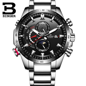 Switzerland Genuine Luxury BINGER Watch Men's Mechanical Watch Fashion Sports Luminous Waterproof Running Automatic Watches Men