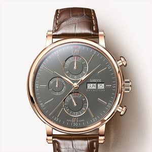 Switzerland LOBINNI Men Watches Luxury Brand Perpetual Calender Auto Mechanical Men's Clock Sapphire Leather relogio L13019-3