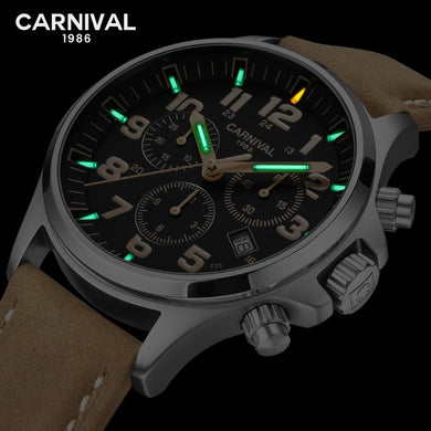 T25 tritium luminous quartz watch men Double calendar TOP brand luxury men watches waterproof clocks Tritium reloj 2019