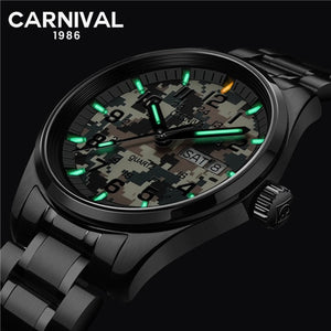 T25Carnival tritium luminous Double calendar military Quartz watch men luxury brand watches waterproof clock relogio erkek saati