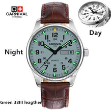 Load image into Gallery viewer, T25Carnival tritium luminous Double calendar military Quartz watch men luxury brand watches waterproof clock relogio erkek saati