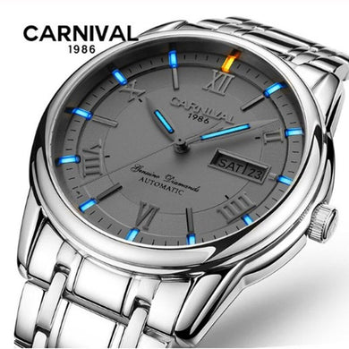 T25Carnival tritium luminous watch men Double calendar automatic mechanical watches military full steel clocks sapphire montre