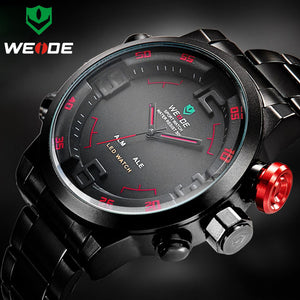 Top Luxury Brand WEIDE Men Full Steel Watches Men's Quartz Analog LED Clock Man Fashion Sports Army Military Wrist Watch