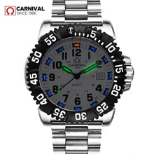 Load image into Gallery viewer, Top brand luxury tritium luminous quartz watch men waterproof sports men watches full steel clock tritium light uhren damen saat
