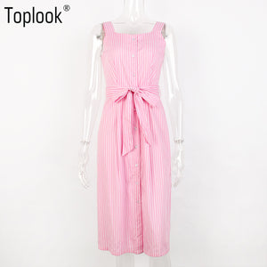 Toplook Pink Striped Bow Bandage Dress 2018 Summer Sexy Off Shoulder Women Party Dresses Single-Breasted Midi Shirt Dress