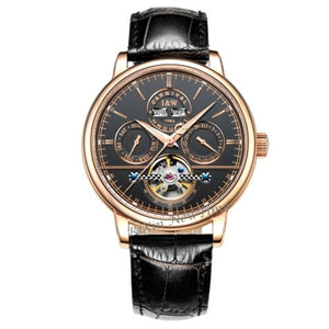 Tourbillon Mens Watches switzerland Carnival Luxury Brand Waterproof Automatic Mechanical Watch leather strap montre homme uhren