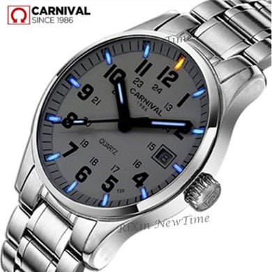 Tritium gas light watch military diving sport waterproof 200M quartz luminous full steel mens luxury brand leather strap watches