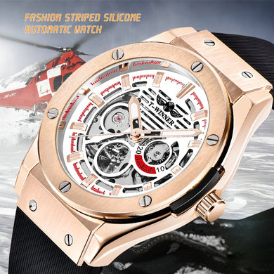 WINNER Rose White Fashion Watch Men Automatic Mechanical Rubber Strap Skeleton Dial Casual Mens Watches Top Brand Luxury Clock
