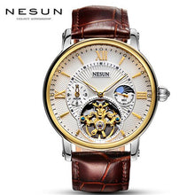 Load image into Gallery viewer, Watch Men Skeleton Mechanical Watches Tourbillon Moon Phase Mechanical Watches for Men Waterproof Leather Watch