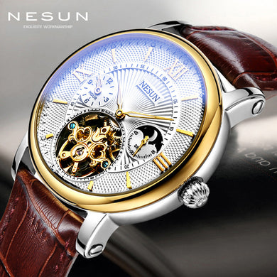Watch Men Skeleton Mechanical Watches Tourbillon Moon Phase Mechanical Watches for Men Waterproof Leather Watch