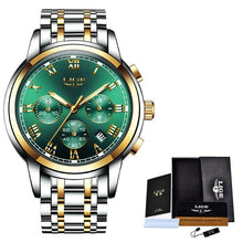 Load image into Gallery viewer, Watches Mens 2019 LIGE Top Brand Luxury Green Fashion Chronograph Male Sport Waterproof All Steel Quartz Clock Relogio Masculino