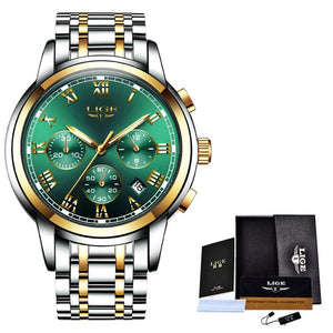 Watches Mens 2019 LIGE Top Brand Luxury Green Fashion Chronograph Male Sport Waterproof All Steel Quartz Clock Relogio Masculino