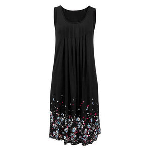 Women Casual Dress Summer Loose Floral Print Pleated Sleeveless Sundress A-Line Ruffled Beach Dress Sundress