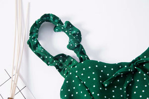 Women Frill Trim Polka Dot Green Cami Dress Vintage Mini Cami Dress with Bowknot Front