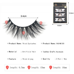 5fd885578c7 YAQIMEIER 3d False Eyelashes Hot 3D15 Handmade Faux Mink Lashes Charming  Long / Messy /Thick