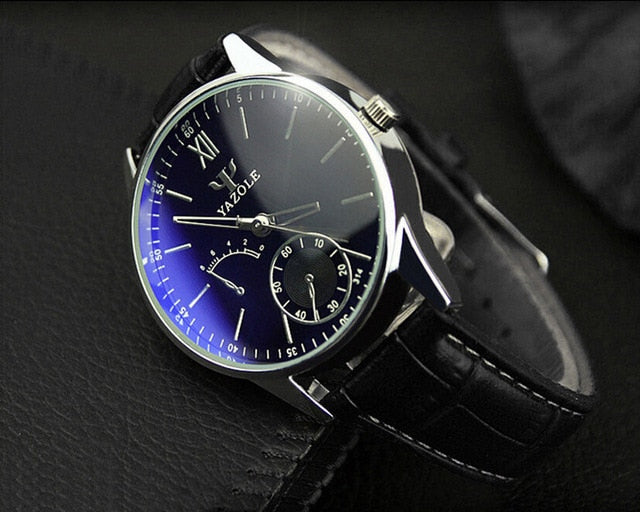 YAZOLE Mens Watches TOP Brand Luxury Business Watch Men Leather Quartz Blue Wrist Watches Ray Glass Relogio relogio masculino