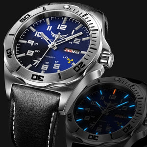 YELANG V1019 mens steel waterproof 100m tritium luminous dual calendar business automatic mechanical wrist watch