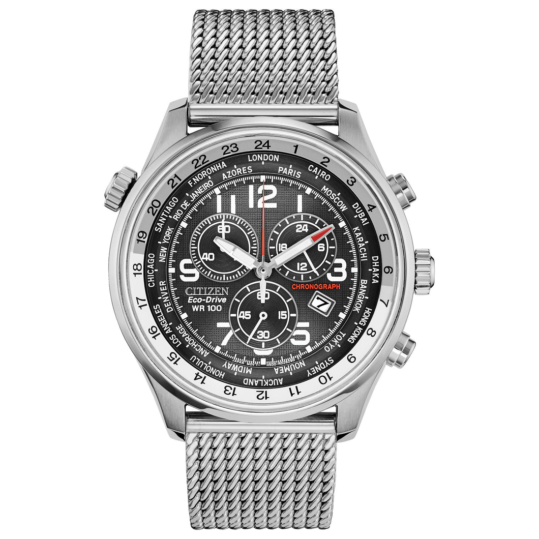 Citizen Eco-Drive Chronograph Silver-Tone Stainless Steel Men's Watch, Black