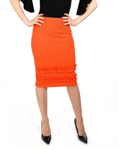 Orange Frill Hem Midi Skirt