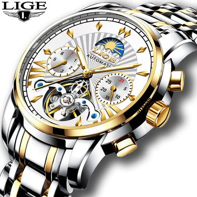 2019 LIGE Mens Watches Top Luxury Brand Fashion Tourbillon Automatic Mechanical Watch Men Waterproof Skeleton Clock Montre Homme