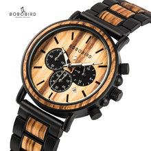Load image into Gallery viewer, BOBO BIRD Wooden Watch Men erkek kol saati Luxury Stylish Wood Timepieces Chronograph Military Quartz Watches in Wood Gift Box