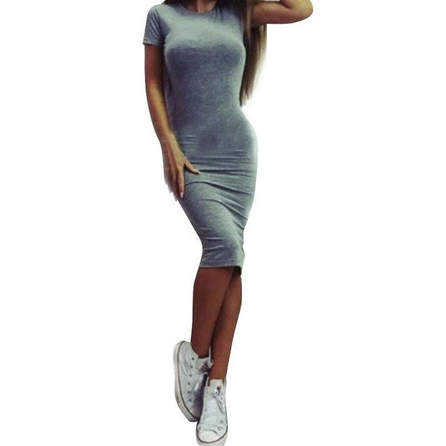 Women Dress Fashion Sexy Solid Short Sleeve  Slim A-Line :Knee-Length Dresses Women's Clothing #LYW