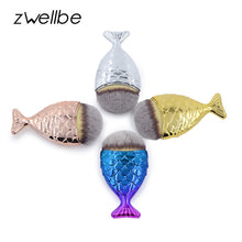 Load image into Gallery viewer, zwellbe 1pcs Mermaid Shape Makeup Brush Powder Blush Foundation Cosmetic Fish Brush Makeup Tools Mermaid Makeup Contour Pincel
