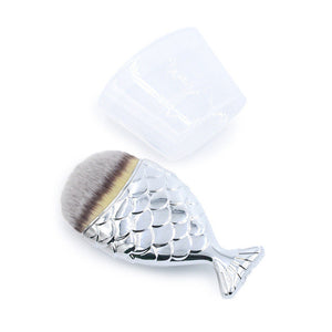 zwellbe 1pcs Mermaid Shape Makeup Brush Powder Blush Foundation Cosmetic Fish Brush Makeup Tools Mermaid Makeup Contour Pincel