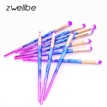 Load image into Gallery viewer, zwellbe 4/6/10pcs Makeup Diamond Brush Rainbow Makeup Brushes Set Powder Foundation Eye Lip Concealer Face Pincel Brush Kit
