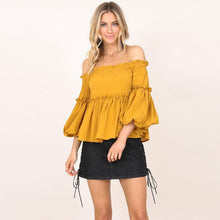 Load image into Gallery viewer, Off Shoulder Women Blouses Slash Neck Three Quarter Tops Butterfly Long Sleeve Autumn Shirts Party Clothes For Women