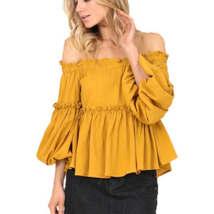 Off Shoulder Women Blouses Slash Neck Three Quarter Tops Butterfly Long Sleeve Autumn Shirts Party Clothes For Women