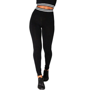 Women High Waist Sports Gym Yoga Running Fitness Leggings Black Slim Pants Workout Clothes for Exercises #EW