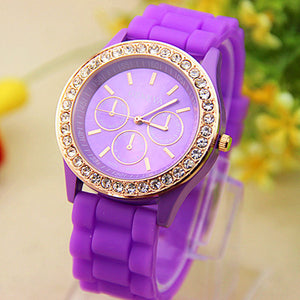 Analog Quartz Wrist Watch Jellyen Crystal Silicone Watch