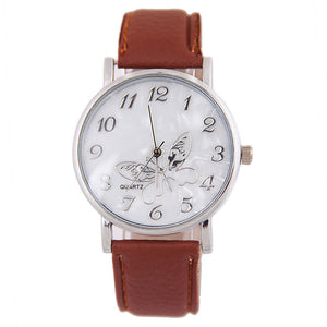 Embossed Bandtterfly Ladies Watches