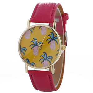 Women Pineapple Chimes Pattern Quartz Watch Leather Straplt Table Watch