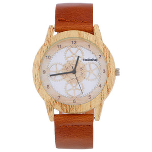 Women Wood Grain Analog Quartz Watch Leather Band Wrist Watch