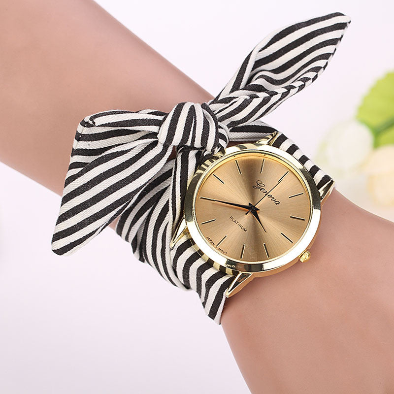 Women Stripe Floral Cloth Quartz Dial Bracelet Wristwatch Watch
