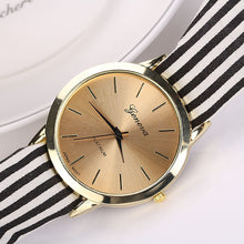 Load image into Gallery viewer, Women Stripe Floral Cloth Quartz Dial Bracelet Wristwatch Watch