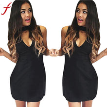 Load image into Gallery viewer, Womens Black Dress Winter Halter V-Neck Sexy Sleeveless Slim Party Dresse straight Ladies Women Clothing Mini Dress#LSW
