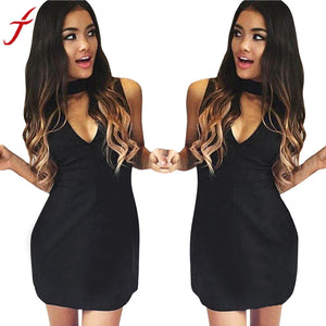 Womens Black Dress Winter Halter V-Neck Sexy Sleeveless Slim Party Dresse straight Ladies Women Clothing Mini Dress#LSW