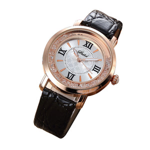 Fashion Women's Watch Leather Stainless Steel luxury Analog Quartz Watch